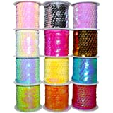 BELLE VOUS Sequins Paillette Rolls - Pack of 12 Colourful Holographic Faceted Sequins, Spangle Sequin Trim Spool String - 4m Sequins Ribbon Sewing Craft for DIY Craft, Necklace, Dress Decoration