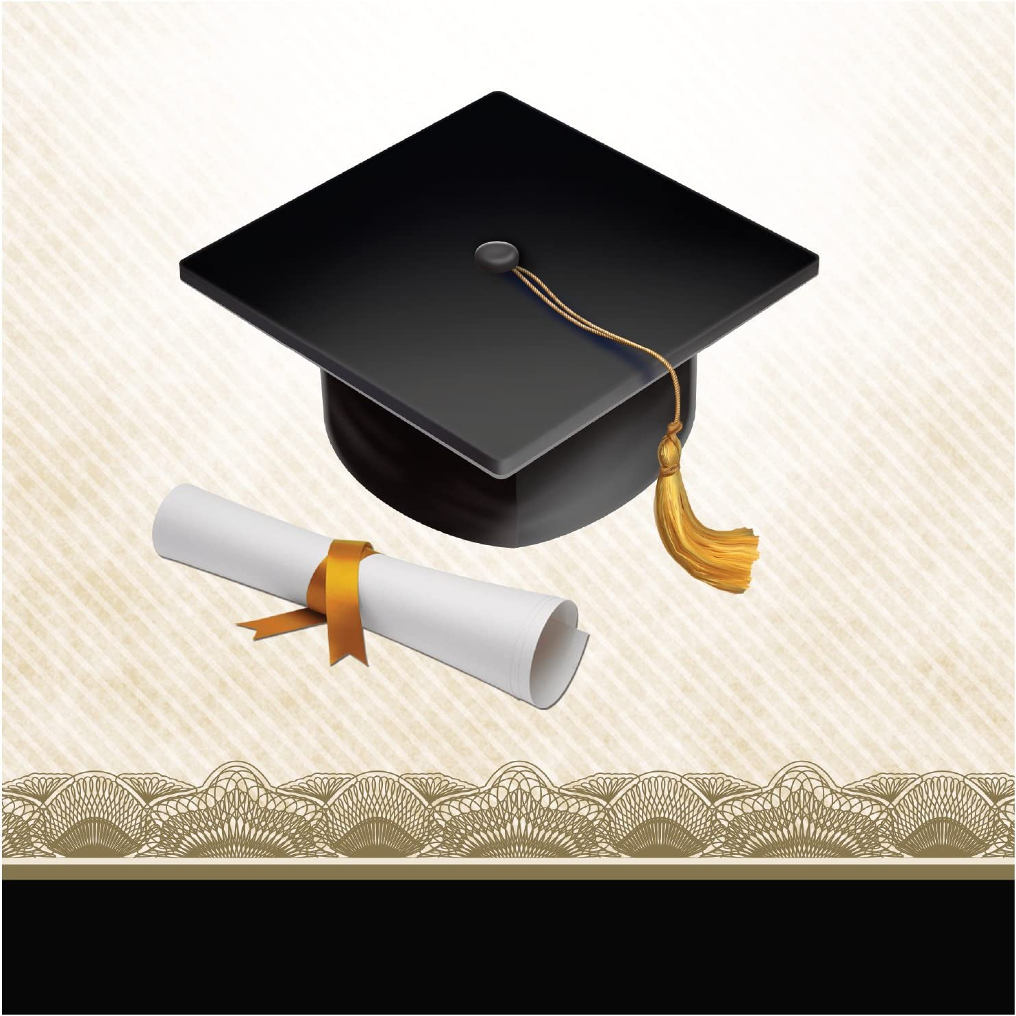 Creative Converting 16 Count Paper Beverage Napkins, Cap and Gown, Black/White/Gold