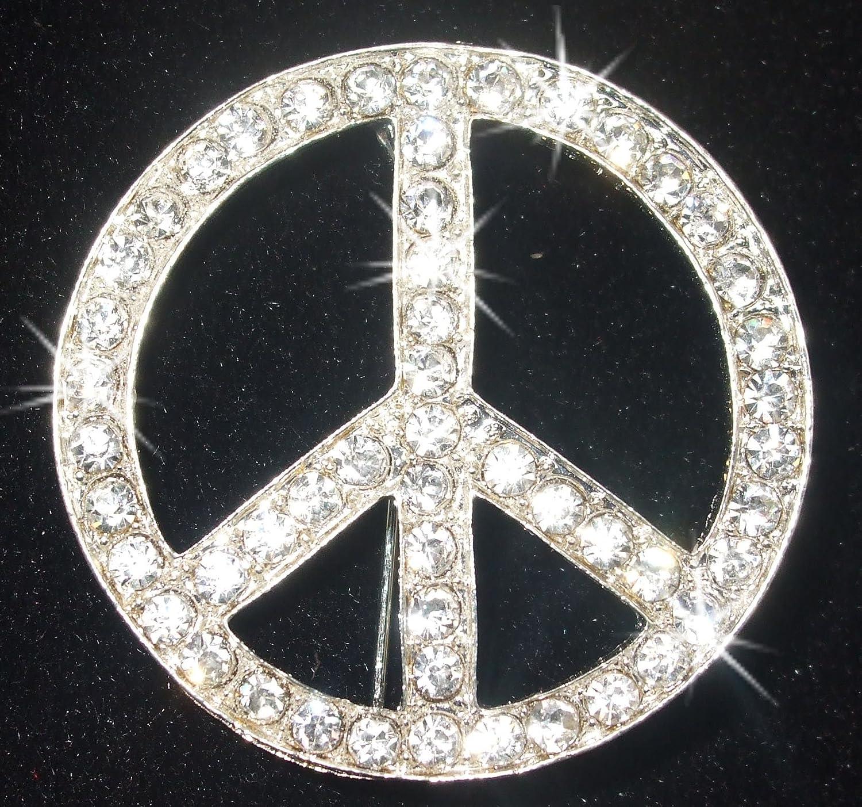 Brosche Peace-Zeichen Kristall Bling Hochzeit Brautschmuck