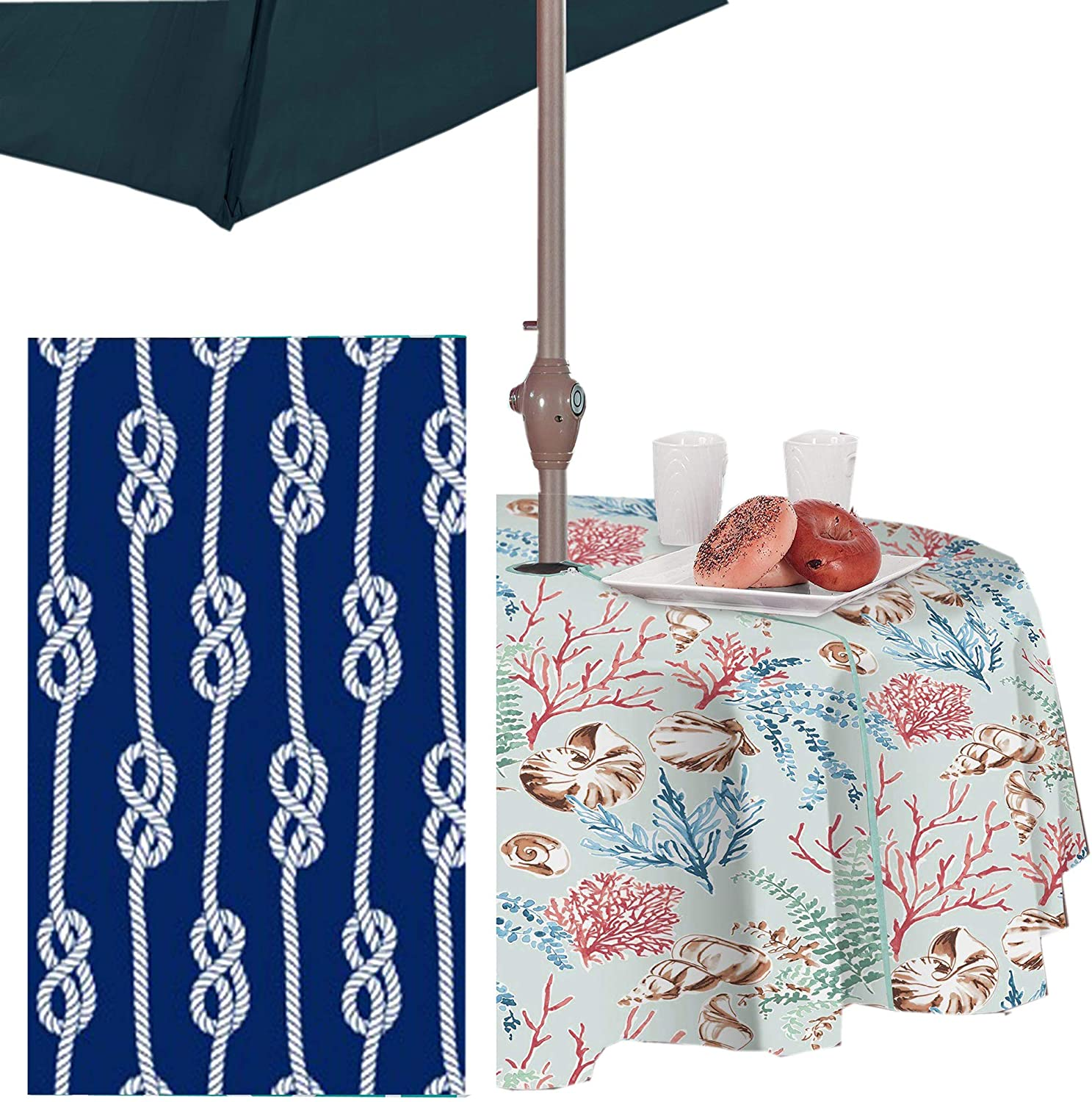 Coastal Rope Striped Indoor//Outdoor Vinyl Picnic BBQ and Dining Tablecloth Navy 52 x 52 Square Newbridge Nautical Rope Stripe Vinyl Flannel Backed Tablecloth