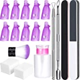 Gel Nail Polish Remover Kit, include 420 Pieces Wipe Cotton Pads, 10 Pieces Nail Clips Caps, 3 Pieces Nail File, Triangle Cuticle Pusher and Cutter Set, Nail Brush, Push Down Pump Dispenser Bottle