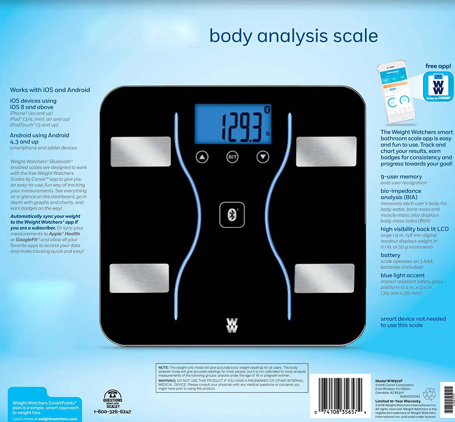 Amazon weight watchers by conair bluetooth body analysis amazon weight watchers by conair bluetooth body analysis scale home kitchen nvjuhfo Images