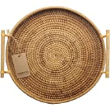 DECRAFTS Round Rattan Bread Basket Woven Serving Tray with Handles for Cracker Dinner Parties Coffee Breakfast (12.6…