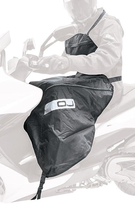 OJ JC0020 Fast Coprigambe Universale in Nylon per Scooter Ripiegabile Nella Pettorina Doppio Strato Nero Impermeabile Taglia Unica Montaggio Rapido