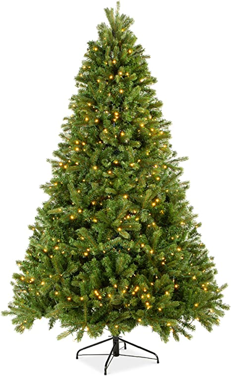 Amazon Com Best Choice Products 7 5ft Pre Lit Douglas Fir Christmas Tree Holiday Decoration With Realistic Feel W 8 Light Sequences Foot Switch 1912 Tips Easy Assembly Metal Hinges Base Home Kitchen