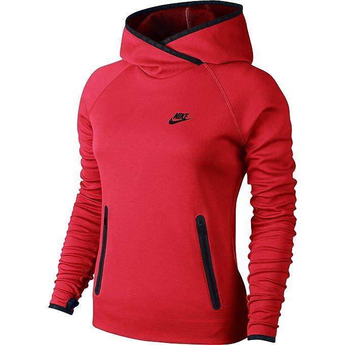 47bcfca6320b5 Nike Tech en Polaire Entonnoir Sweat à Capuche pour Femme Action Rouge Noir  617186–