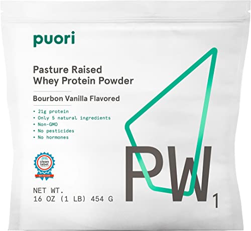 Puori – PW1 Pastured Raised Whey Protein Powder, Non-GMO, 21g Protein, Vanilla, 1.lbs