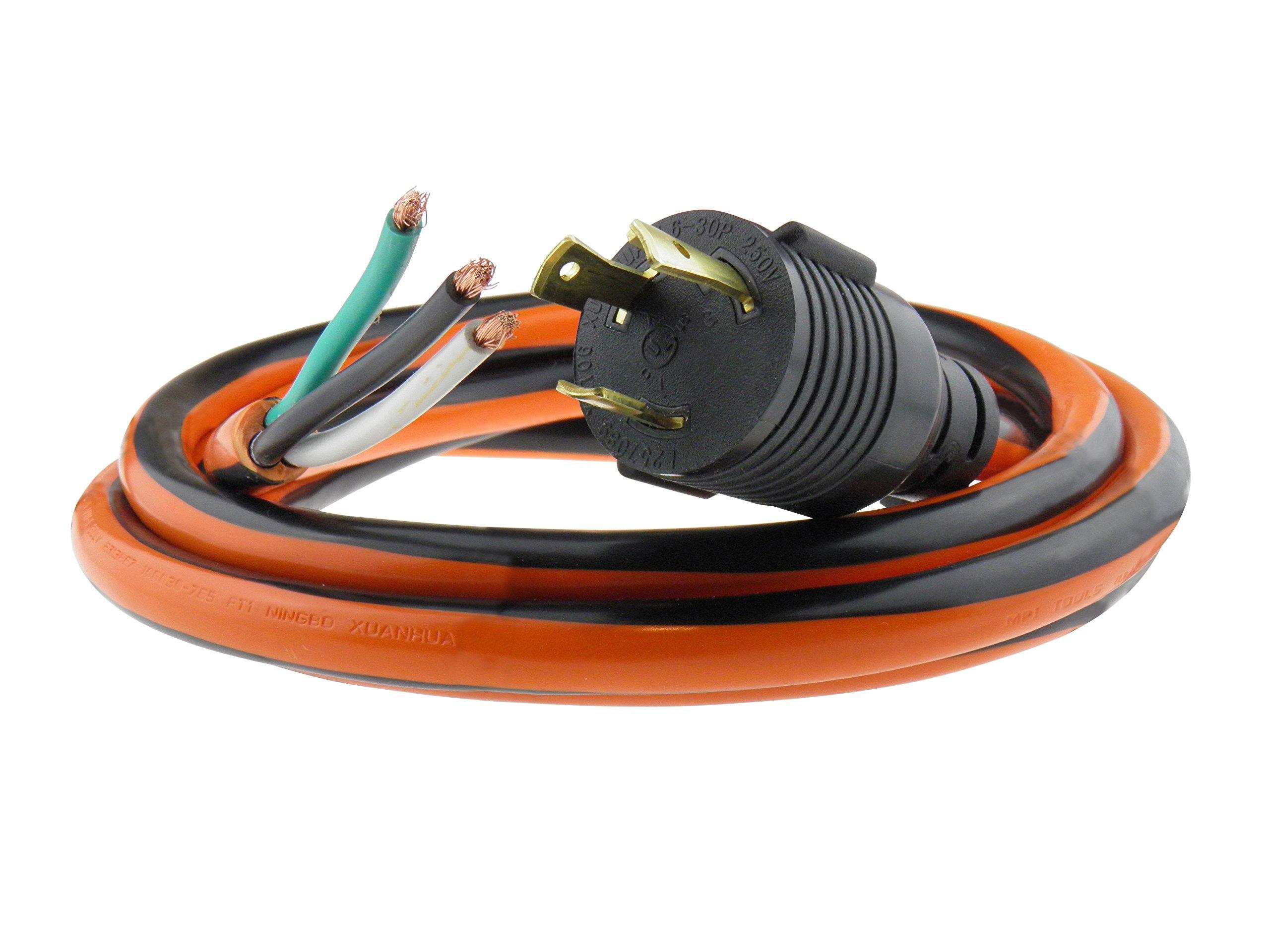 MPI Tools Nema L6-30P Generator Power Cord Whip 3 Wire 10 Gauge 125/250v 30 Amp 10 Foot Length