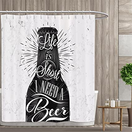 Manly Decor Collection Shower Curtains Mildew Resistant Wine Glass In Retro Vintage Style Lettering Life Is