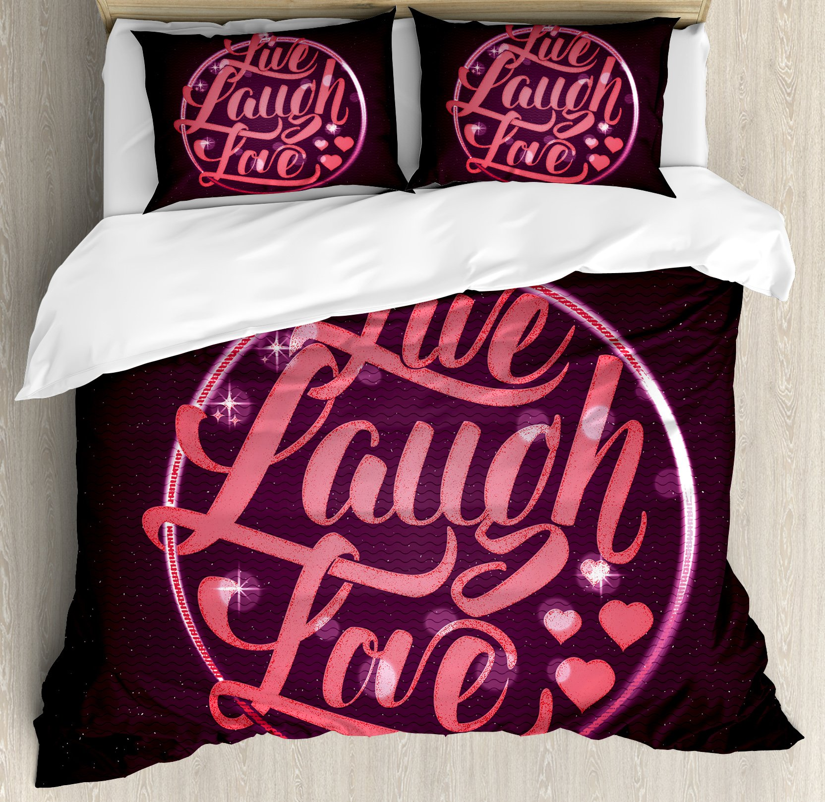 Live Laugh Love Duvet Cover Set Queen Size by Ambesonne, Hearts and Bokeh Background with Positive Drive Boosting Quote, Decorative 3 Piece Bedding Set with 2 Pillow Shams, Salmon Dark Purple Red