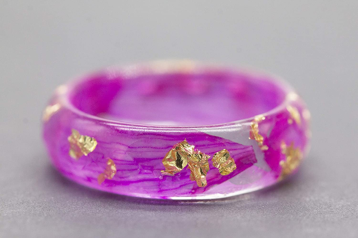 Real Fuchsia Flowers Faceted Resin Ring with Pink Petals and Gold Flakes