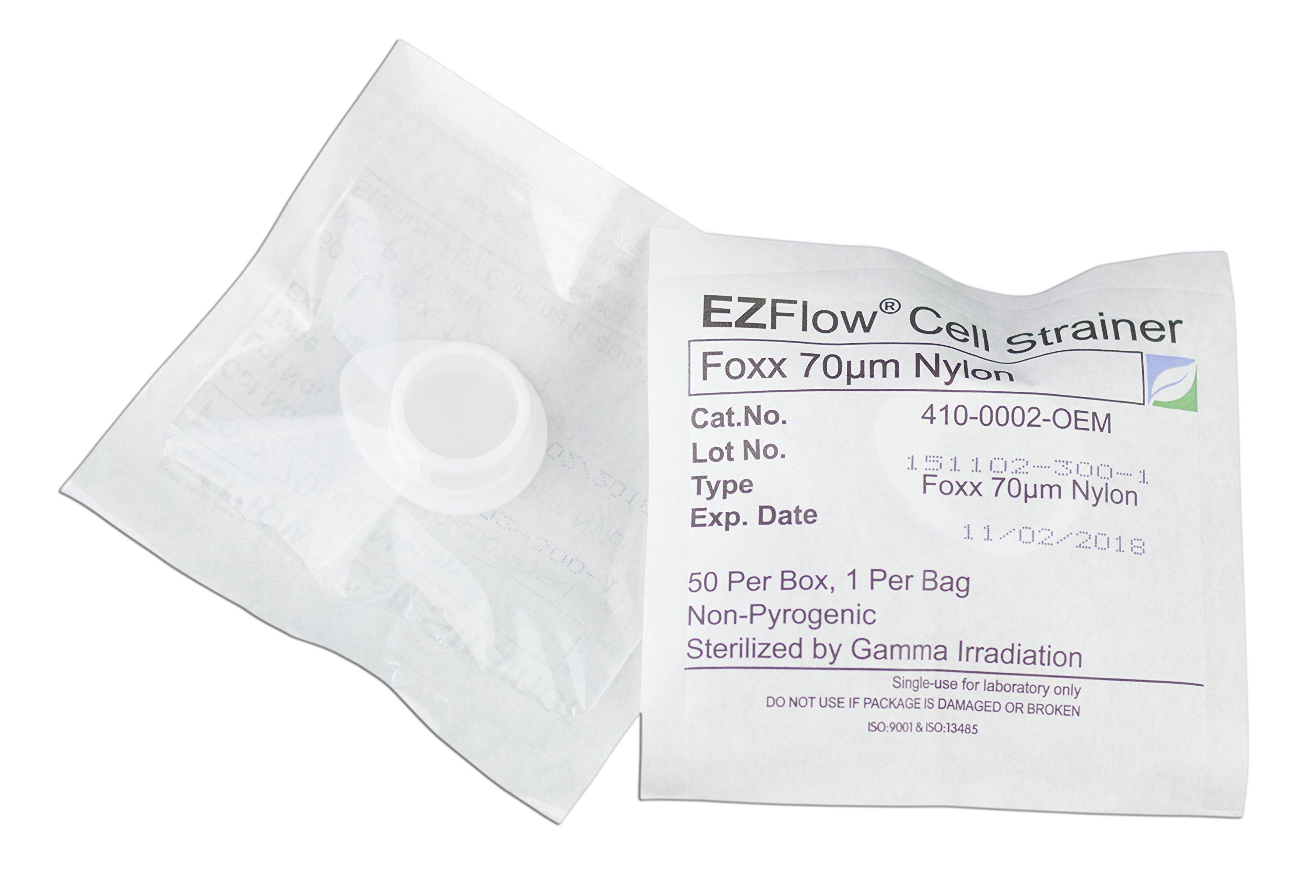 EZFlow Cell Strainer, 70μm, Sterile, White, 50 per Box by Foxx Life Sciences