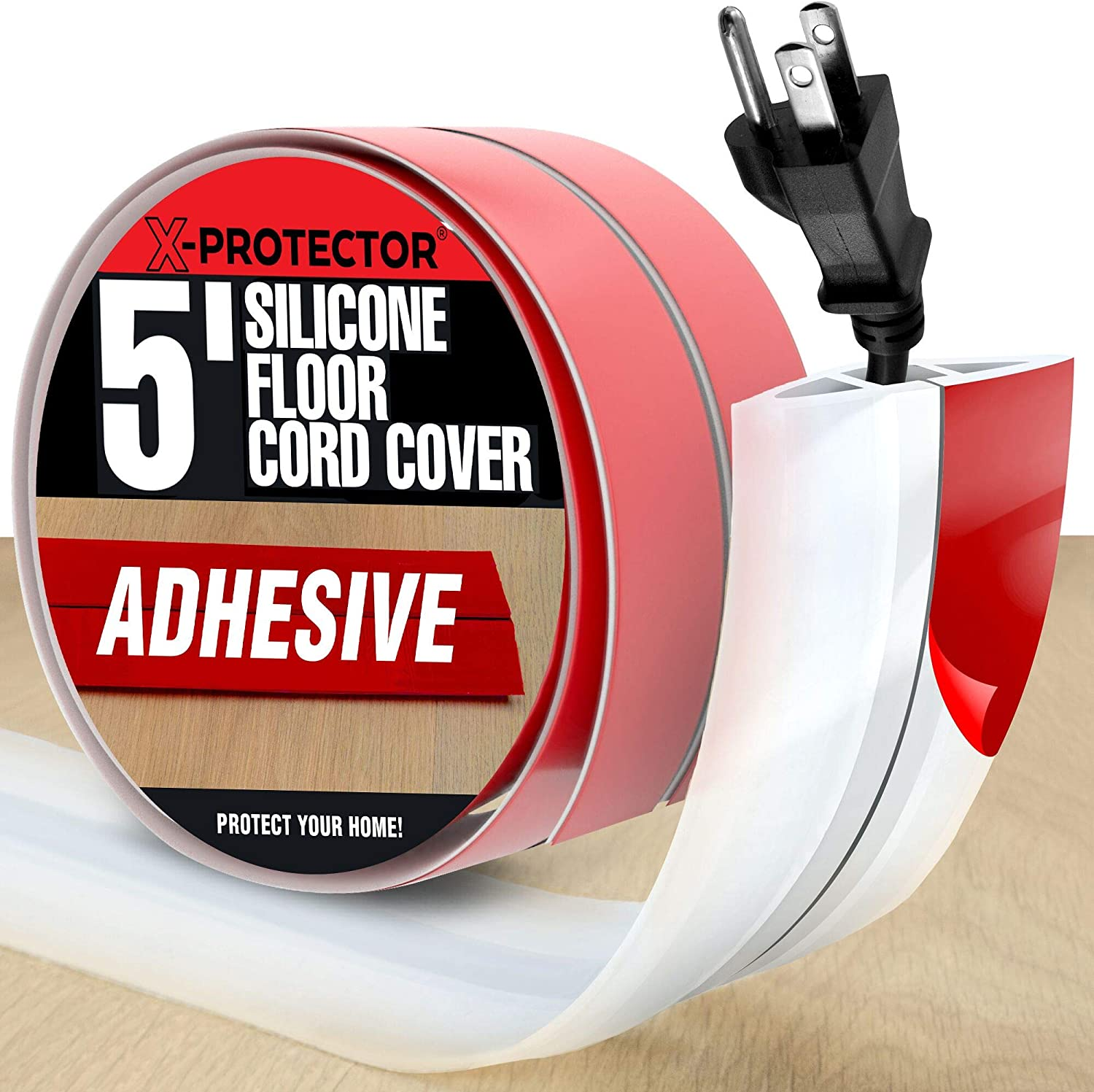 Floor Cord Cover X-Protector – Overfloor Cord Protector – 5' Silicone White Cord Protector – Ideal Extension Cord Cover to Protect Wires On Floor – Self-Adhesive Power Cable Protector (60 in)