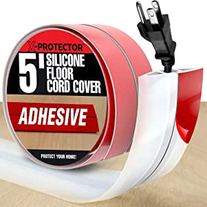 Floor Cord Cover X-Protector - Overfloor Cord Protector - 5' Silicone White Cord Protector - Ideal Extension Cord Cover to Protect Wires On Floor - Self-Adhesive Power Cable Protector (60 in)