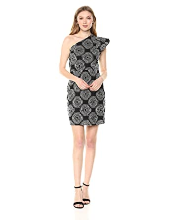 71efc879b5 Sam Edelman Women's One Shoulder Tile Dress, Black/White 8 at Amazon  Women's Clothing store: