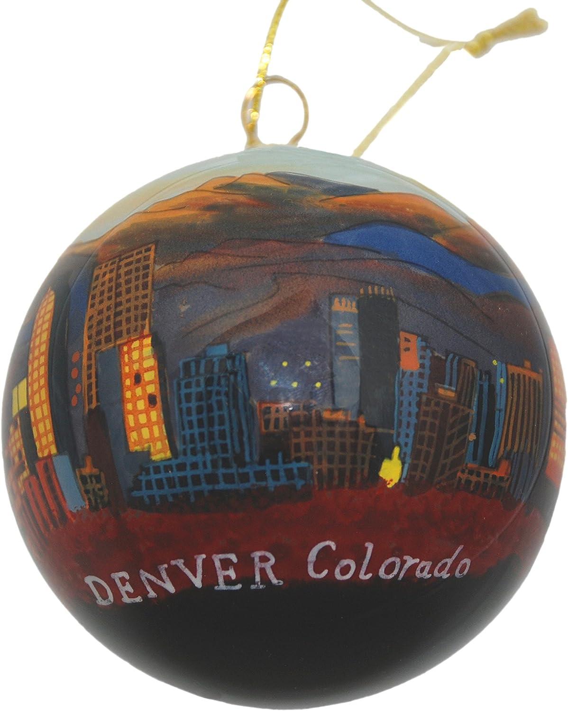 Hand Painted Glass Christmas Ornament - Denver, Colorado Skyline Night