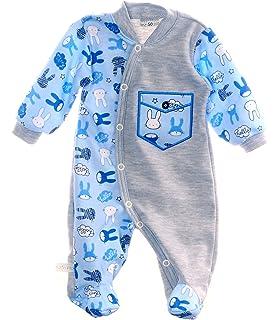 Strampler SCHLAFANZUG Baby Anzug Blau Bär Overall 50 56 62 Einteiler Pyjama NEU