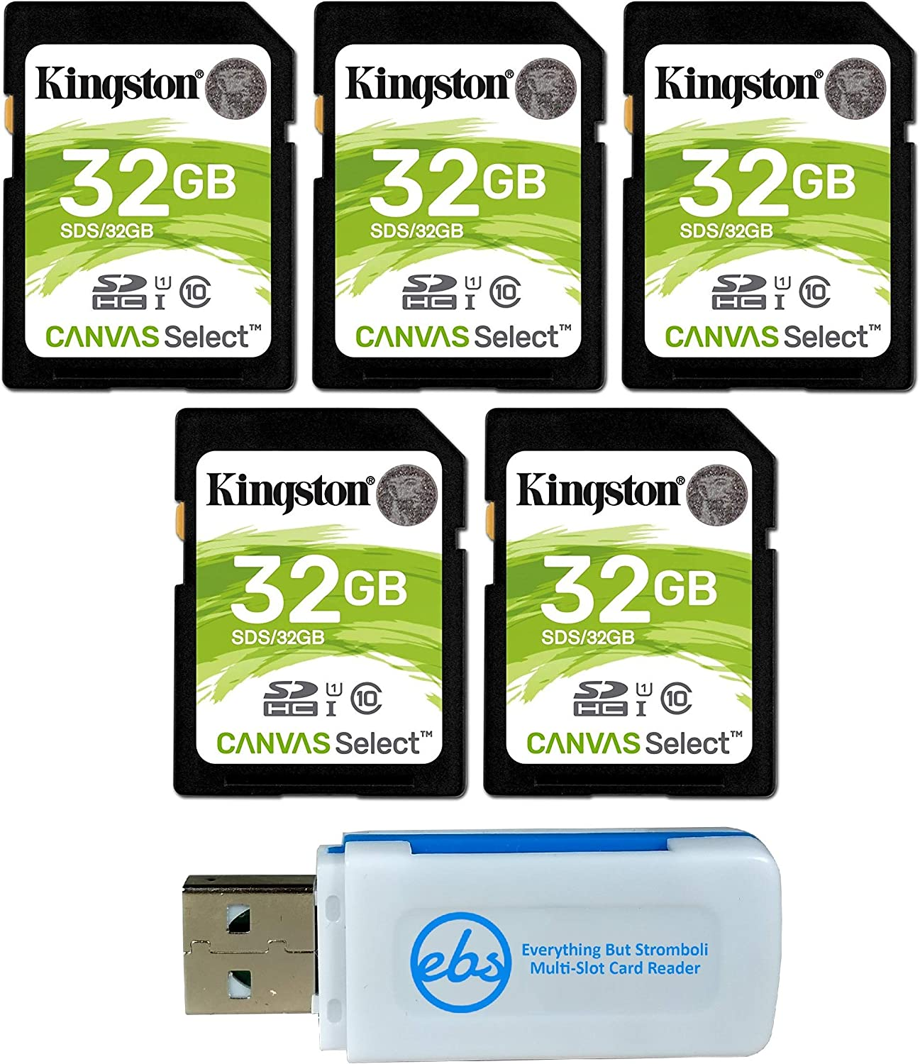 Kingston 32GB SD Memory Card (5 Pack) Canvas Select SDHC Card Class 10 UHS-1 (SDS/32GB) Bundle with (1) Everything But Stromboli SD & Micro Card Reader: Amazon.es: Electrónica