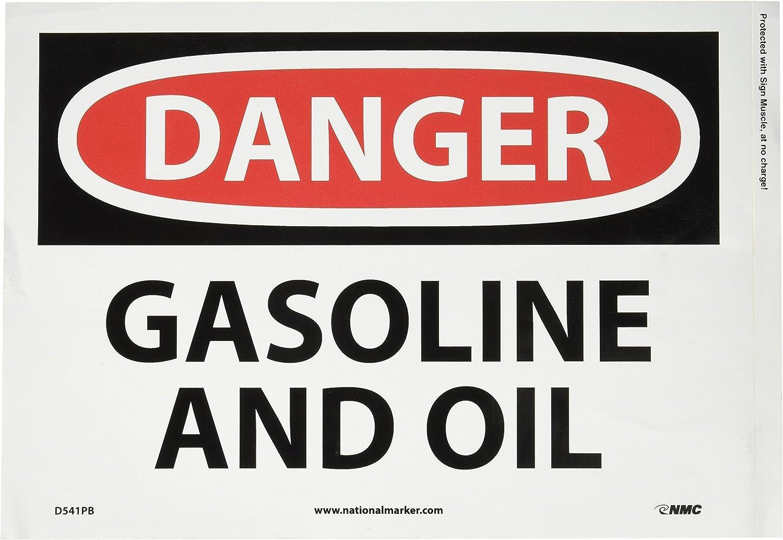 GASOLINE AND OIL Black//Red on White 14 Length x 10 Height Rigid Plastic Legend DANGER NMC D541RB OSHA Sign