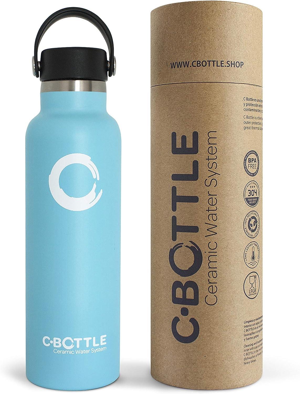 N C-Bottle Botella Agua Acero Inoxidable 600ml con Recubrimiento Interior Cerámico, Libre de BPA y Malos Sabores, Botella Termica Resistente y Ligera, Eco-Friendly…