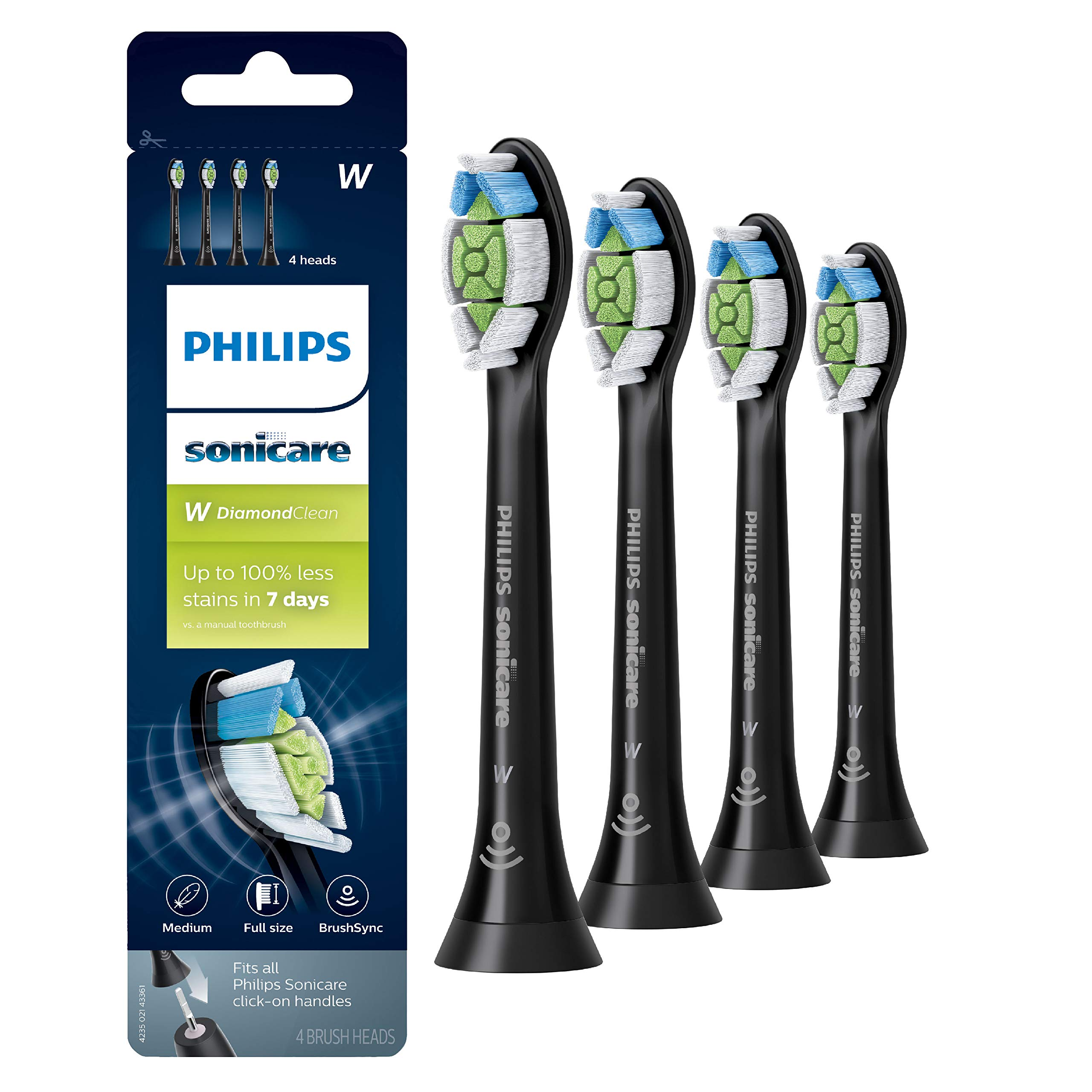 Genuine Philips Sonicare DiamondClean replacement toothbrush heads, HX6064/95, BrushSync technology, Black,4 Count by Philips Sonicare