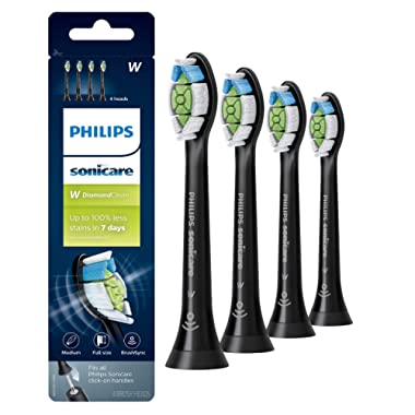 Genuine Philips Sonicare DiamondClean replacement toothbrush heads, HX6064/95, BrushSync technology, Black,4 Count