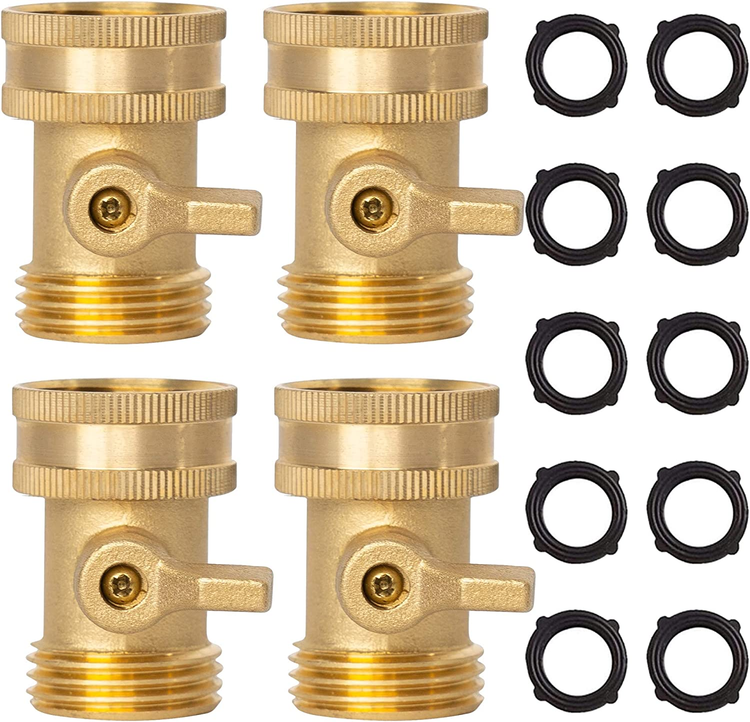 Xiny Tool Brass Garden Hose Shut Off Valve, Heavy Duty 3/4 Inch Solid Brass Garden Hose Shut Off Valve with 10 Extra Rubber Washers (4)