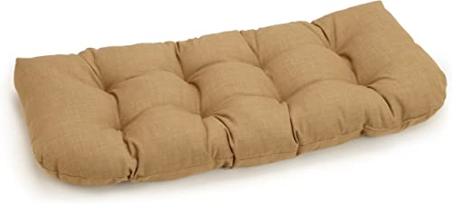 Blazing Needles Outdoor Spun Poly 19-Inch by 42-Inch by 5-Inch All Weather UV Resistant Love Seat Cushion, Wheat
