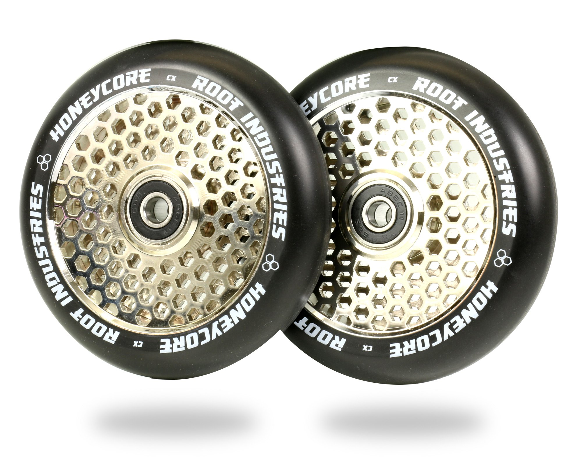 Root Industries 110mm Honeycore Wheels - Black Urethane (Pair) (Black/Mirror)