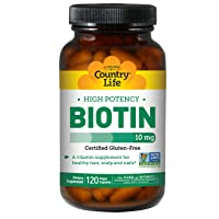 Country Life High Potency Biotin 10mg Essential B Vitamin - Healthy Hair, Skin,...