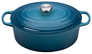 Le Creuset Signature Enameled Cast-Iron 6.75 Quart Oval French (Dutch) Oven, Marine