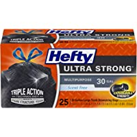 Hefty Ultra Strong Large Black Trash Bags, Unscented, 30 Gallon, 6 Packages of 25 Bags (150 Total)