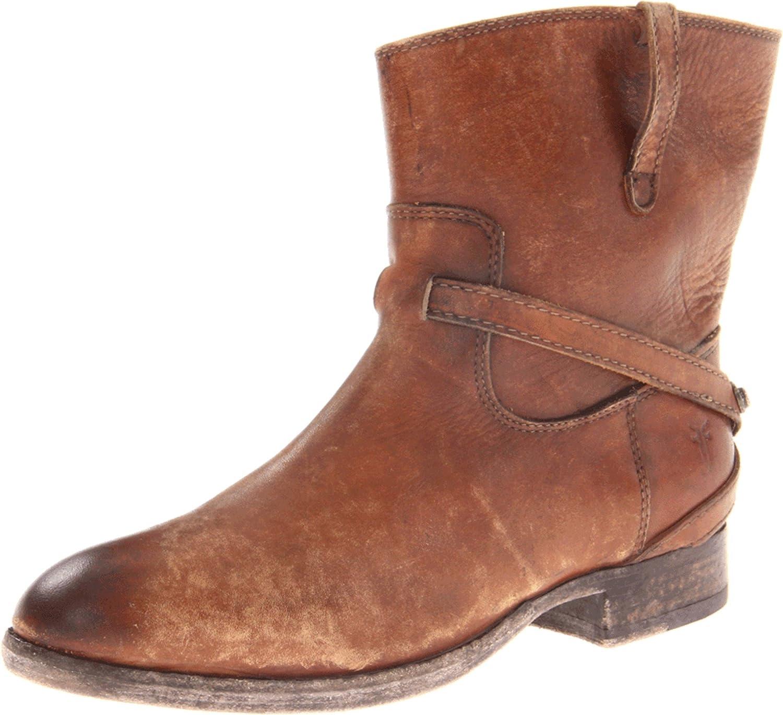 FRYE Women's Lindsay Plate Short Boot B006NYO742 5.5 B(M) US|Cognac Stone Wash