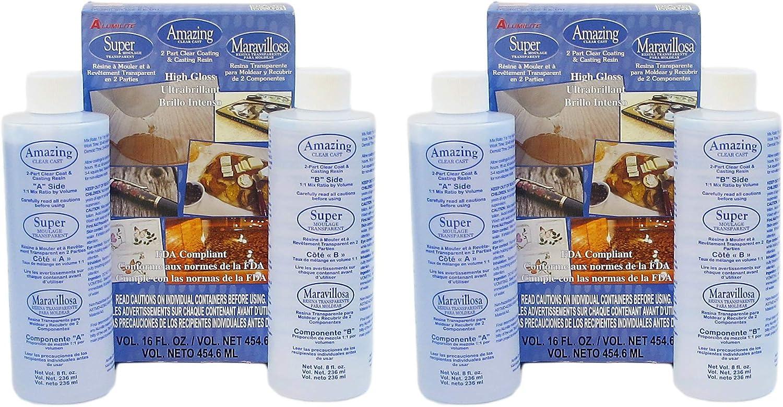 Alumilite Amazing Clear cast epoxy Resin 16 Ounces (Part A and Part B 8oz Each Bottle Per Box) (2 Pack)