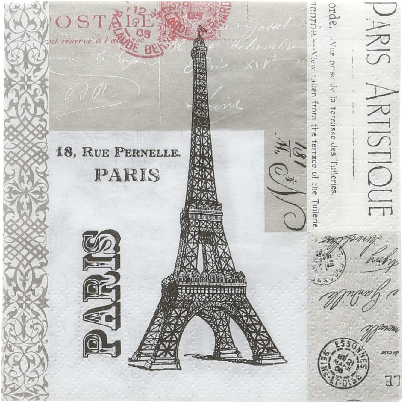 Paperproducts Design 6903 Beverage Napkin, Paula Scaletta, Paris