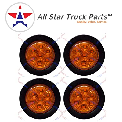 "4 PC 2.0"" Round LED Light Side Marker Clearance [7 LEDs] [Rubber Grommet] [IP 67] for Trailers - 4 Amber Lights: Automotive [5Bkhe1508139]"