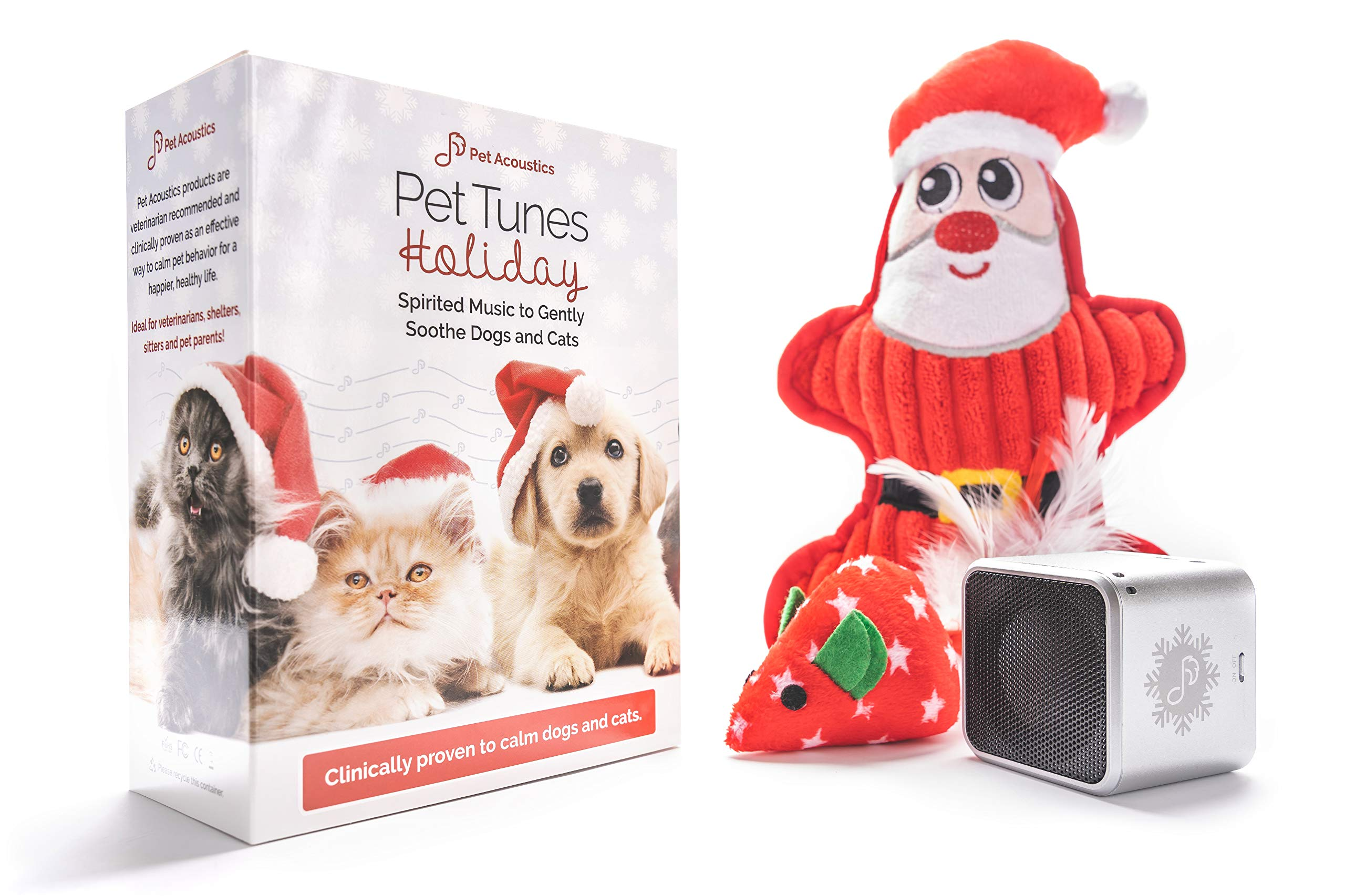 Pet Acoustics Pet Tunes Holiday Music Pet Gift Pack: pre-Loaded Calming Music, Dog Toy, Cat Toy by Pet Acoustics