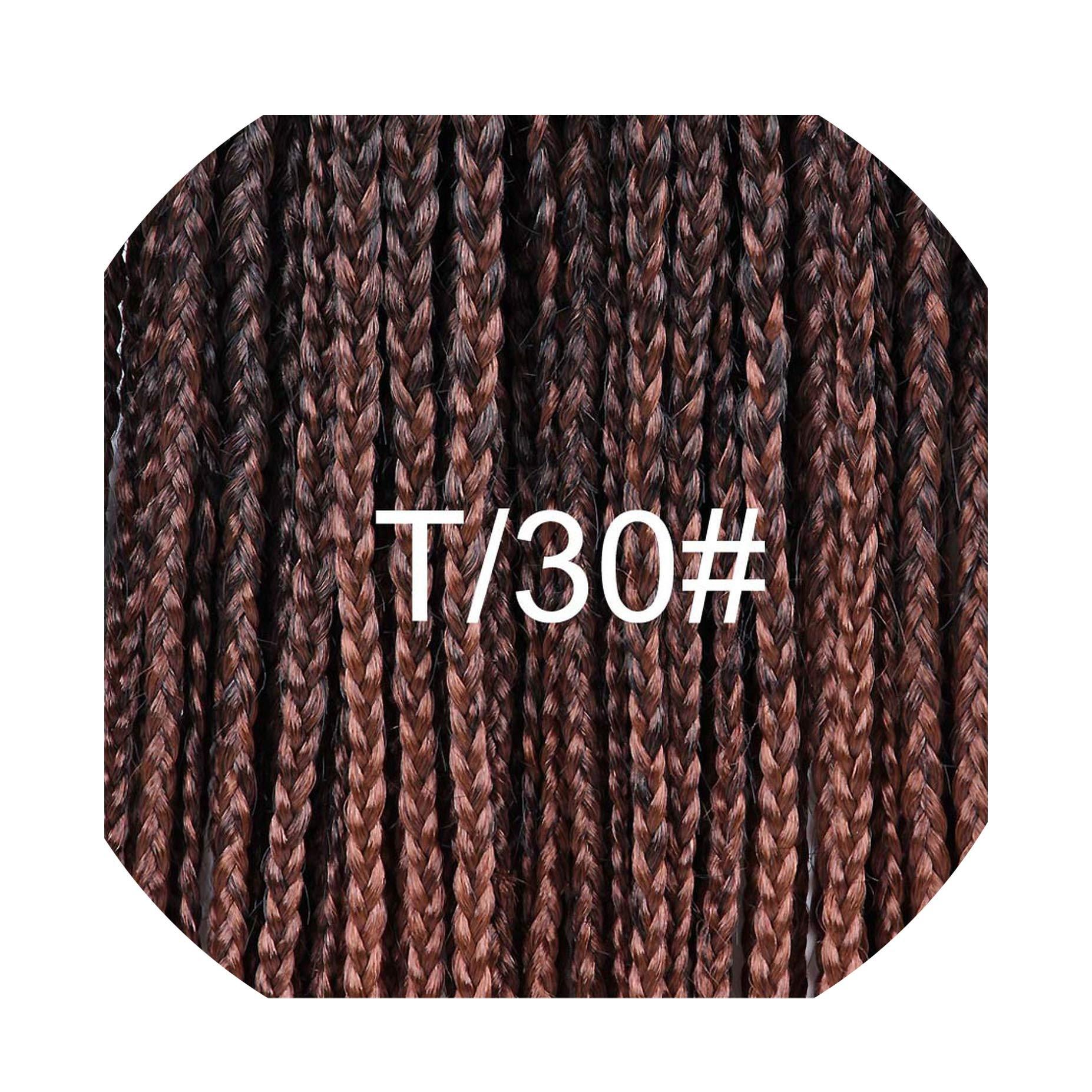 12-30 Inch Crochet Box Braids Hair Extensions Long Black Brown Burgundy Ombre Crochet Braids Kanekalon Synthetic Hair,T1B/30,20inches,9Pcs/Lot by Ting room