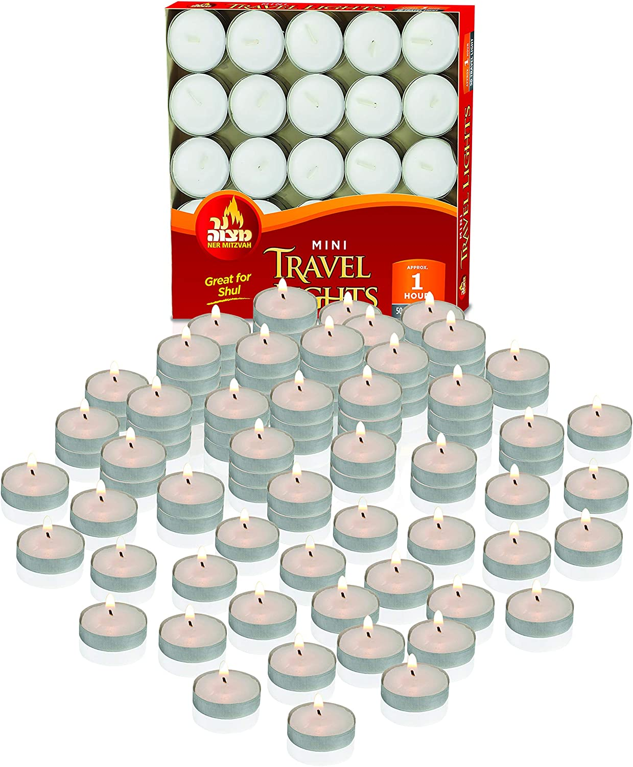 Centerpiece White Unscented Travel 4 Hour Burn Time Pressed Wax Ohr Tea Light Candles 50 Bulk Pack Decorative Candle