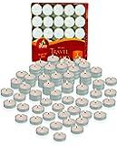 Ner Mitzvah Mini Tea Light Candles - 50 Bulk Pack - White Unscented Travel, Centerpiece, Decorative Candle - 1 Hour Burn…