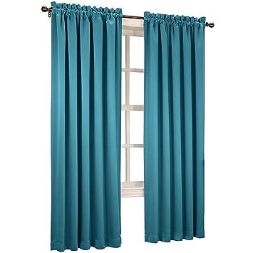 Sun Zero Emory 2 Pack Room Darkening Rod Pocket Curtain Panels