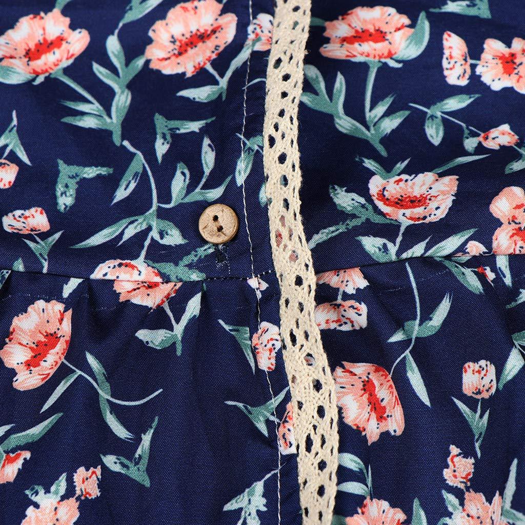 Wokasun.JJ Tunic Tops,Women Vintage Floral Print Long Sleeves Mini Dress V-Neck Button Down Blouse