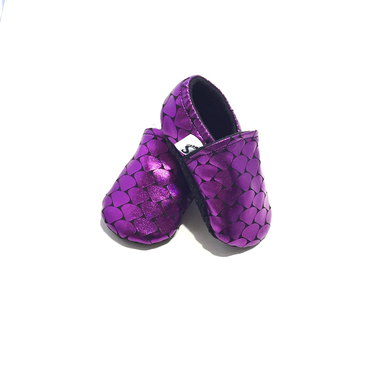 Amazon.com: MERMAID CRIB SHOES, purple baby moccasins, mermaid baby shower gift, girl baby booties, mermaid baby, purple baby booties, soft sole baby shoes: ...
