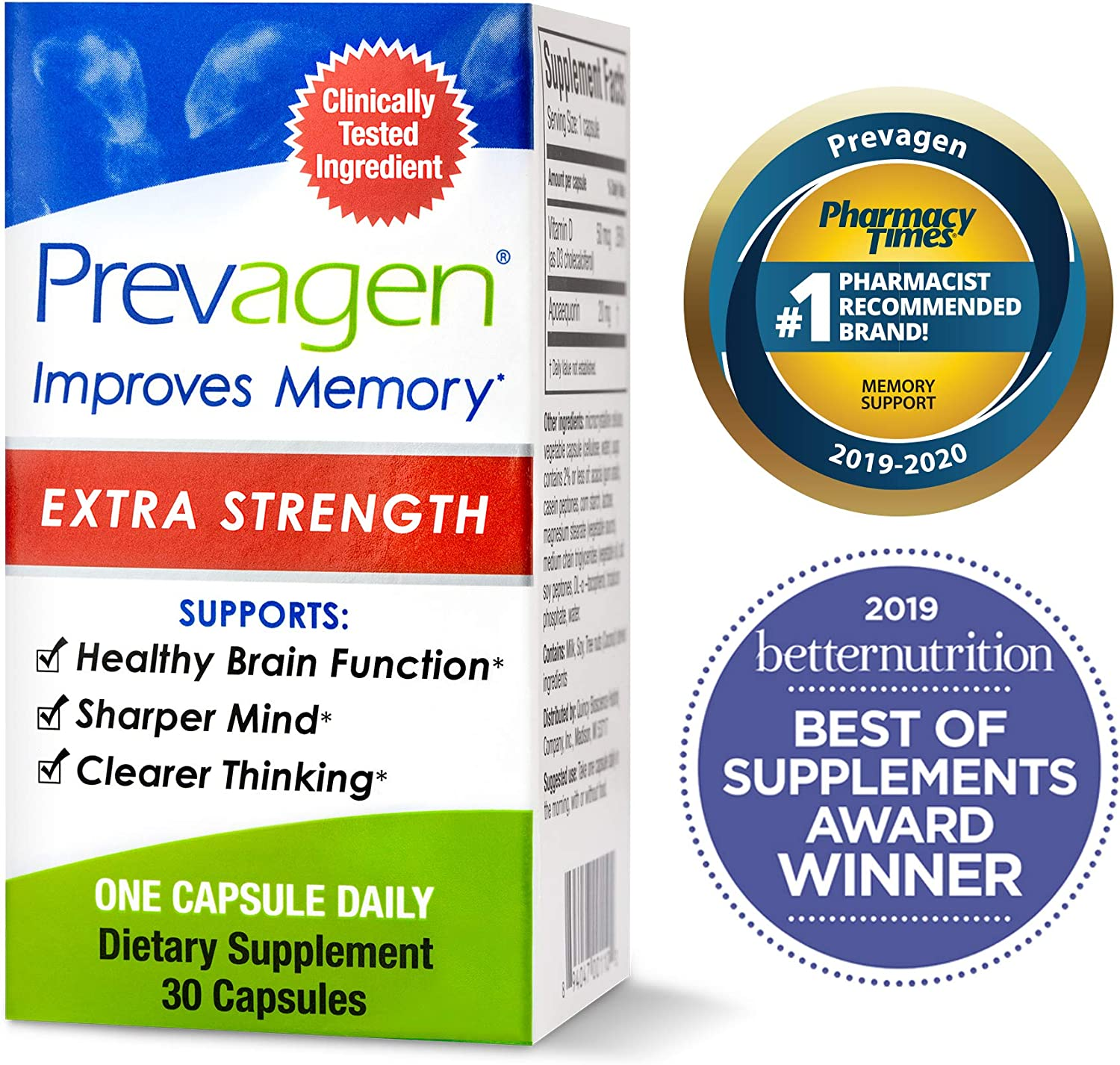 Prevagen Improves Memory - Extra Strength 20mg, 30 Capsules with Apoaequorin & Vitamin D | Brain Supplement for Better Brain Health, Supports Healthy Brain Function and Clarity | Memory Supplement