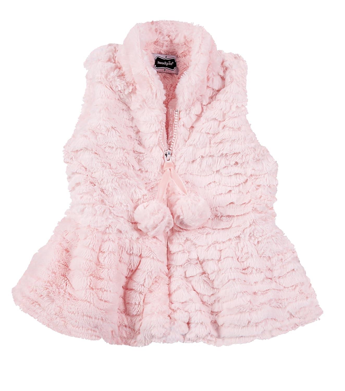 Mud Pie Girls Pink Faux Fur Vest Peplum Waist Style 1152044