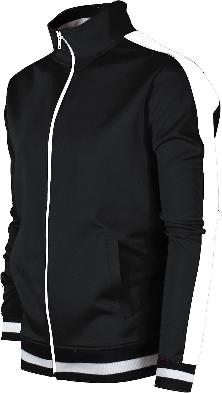 Screenshotbrand Mens Hip Hop Premium Slim Track Jacket - Side Taping at  Men's Clothing store