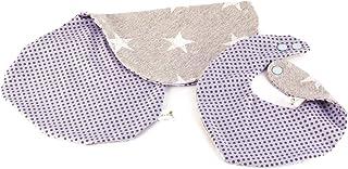 Anton & Sophie SET blaues Dreieckstuch und Spucktuch für Babys (Jungen), größenverstellbar, WENDBAR (2 DESIGNS IN 1), doppellagig