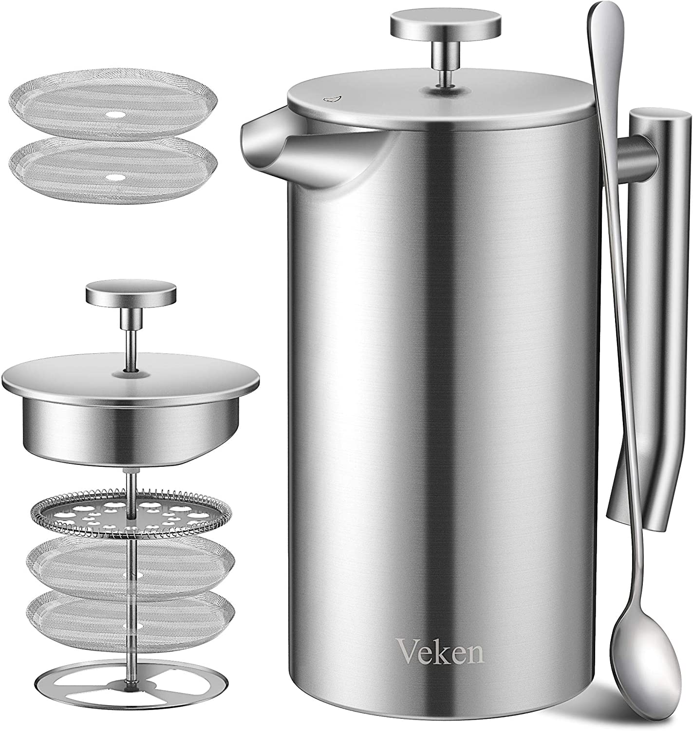 Veken French Press Double-Wall 18 10 Stainless Steel Coffee Tea Maker, Multi-Screen System, 2 Extra Filters Included, Rust-Free, Dishwasher Safe, 1L