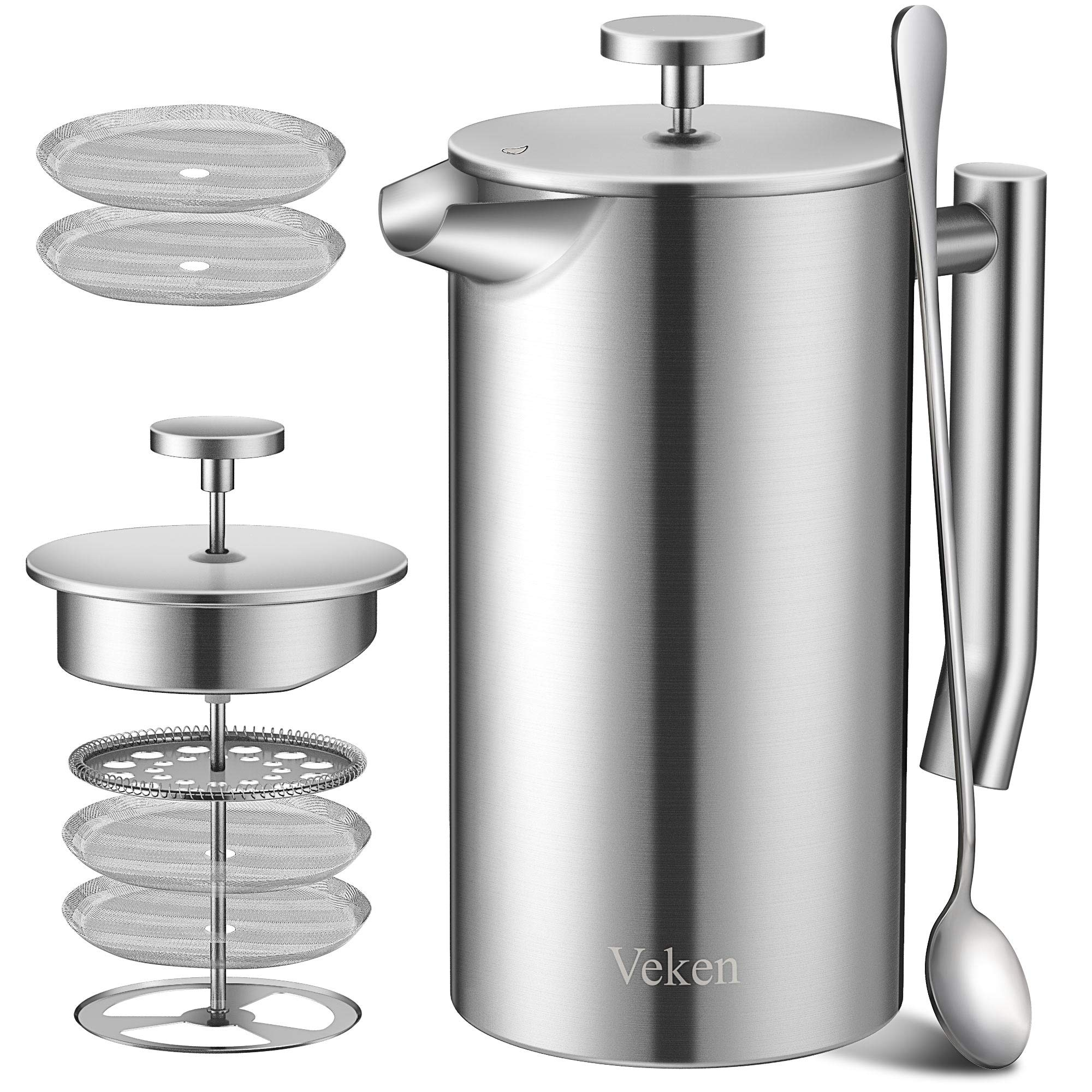 Veken French Press Double-Wall 18/10 Stainless Steel Coffee & Tea Maker, Multi-Screen System, 2 Extra Filters Included, Rust-Free, Dishwasher Safe, (1L) by Veken