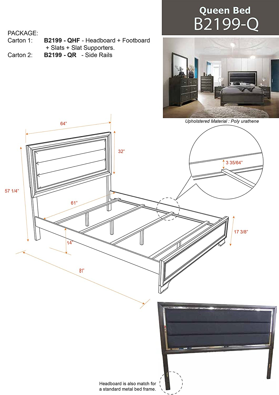 Amazon.com: Kings Brand Furniture Oceana - Cabecero de cama ...